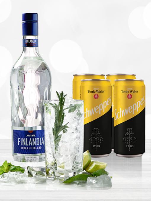 Finlandia 0.7L + 4 Schweppes Tonic